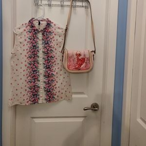 Zovi Pink rose floral top sleeveless cream top